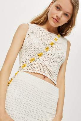 Topshop Crochet Tie Back Crop Top