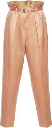 Bottega Veneta High-Rise Cotton and Silk-Blend Satin Slim-Leg Pants
