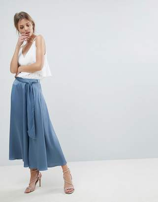 Asos Satin Midi Skirt With Self Belt