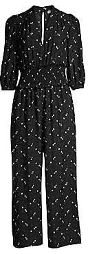 Rebecca Taylor Women's Alisia Floral Smocked Cropped Jumpsuit