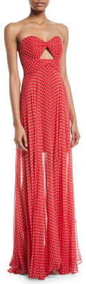 Milly Mckenzie Twist Strapless Polka-Dot Silk Chiffon Gown