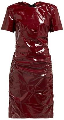 No.21 No. 21 - Ruched Tie Back Glossed Poplin Dress - Womens - Burgundy