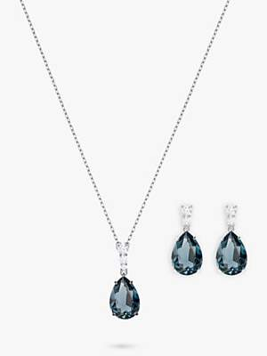 d924fb1a2 Swarovski Vintage Crystal Teardrop Drop Earrings and Pendant Necklace  Jewellery Set
