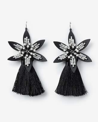 Express Leather Flower Tassel Drop Earrings