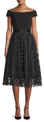 Carmen Marc Valvo Off-The-Shoulder A-Line Dress