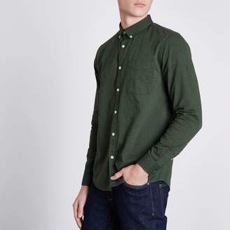 River Island Mens Green long sleeve Oxford shirt