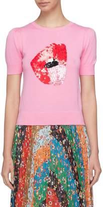 Alice + Olivia x Donald Robertson 'Brady' sequinned lip sweater