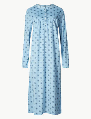 M S CollectionMarks and Spencer Fleece Winter Print Long Sleeve Nightdress 4b8621c7c