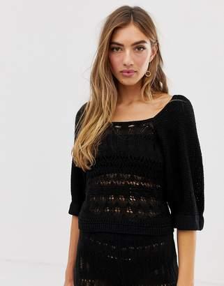 Asos Design DESIGN two-piece crochet puff sleeve top