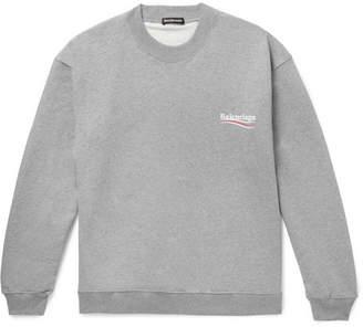 Balenciaga Oversized Logo-Print Mélange Loopback Cotton-Jersey Sweatshirt