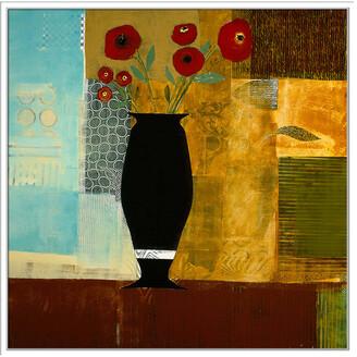 Jonathan Bass Studio Red Floral I, Decorative Framed Hand Embellished Canvas