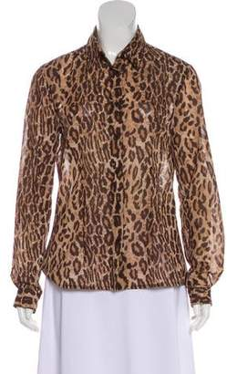 Dolce & Gabbana Collared Animal Print Blouse