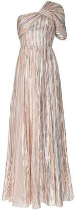 Peter Pilotto striped one-shoulder lamé gown