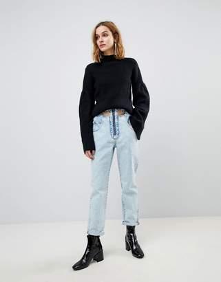 Asos DESIGN ORIGINAL MOM Jeans in Light Vintage Wash With Cut Away Self Belt