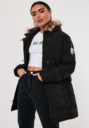Missguided Black Longline Sporty Puffer Coat