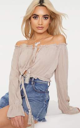 PrettyLittleThing Stone Bardot Double Tie Front Top