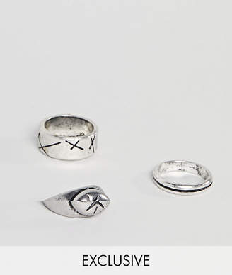 Reclaimed Vintage Inspired Chunky Ring Pack In Silver Exclusive To ASOS