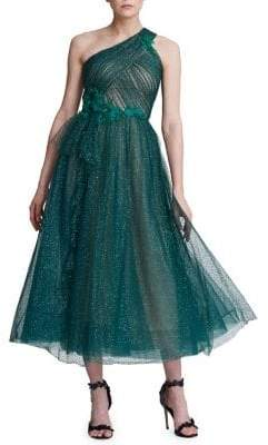 c38d4574a1 Marchesa One-Shouldered Lurex Tulle Cocktail Dress