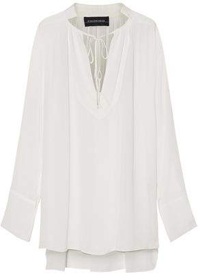 By Malene Birger Satin-Paneled Chiffon Blouse