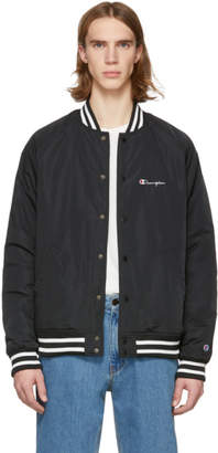 Champion Reverse Weave Black Logo Bomber Jacket