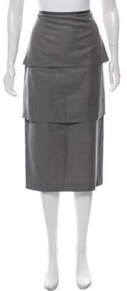 Black Fleece Tiered Midi Skirt Grey Tiered Midi Skirt