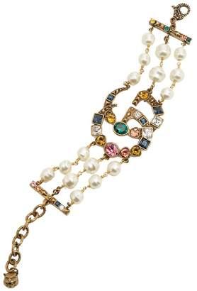 Gucci Crystal and pearl-embellished GG bracelet