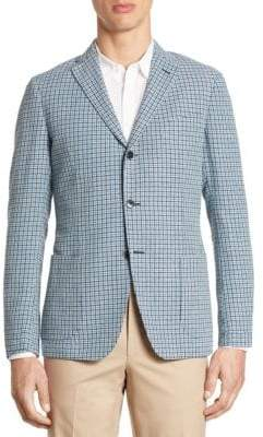 Saks Fifth Avenue COLLECTION Slim-Fit Hatch Stitch Plaid SportCoat