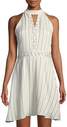 BB Dakota Charlize Striped Lace-Up Dress