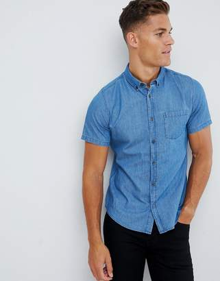Burton Menswear denim shirt in mid wash