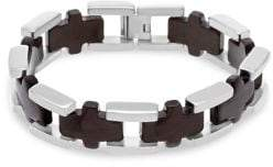 Lord & Taylor Two-Tone Stainless Steel Cross-Link Bracelet