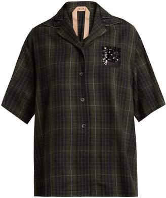 No.21 NO. 21 Crystal-embellished checked bowling shirt