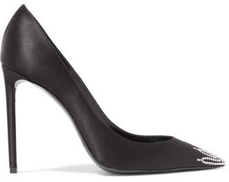 Saint Laurent Zoe Crystal-embellished Satin Pumps - Black