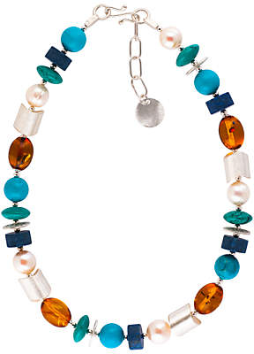 Lapis Be-Jewelled Sterling Silver Amber Pearl Turquoise and Necklace, Multi