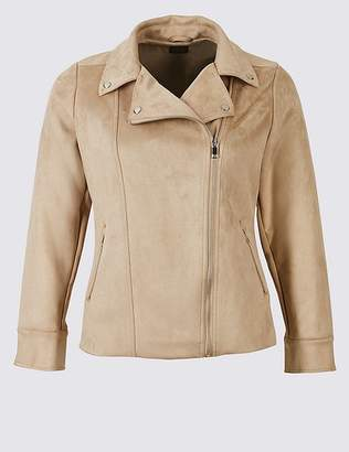 Marks and Spencer CURVE Faux Suede Biker Jacket
