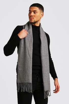 BoohoomanBoohooMAN Mens Grey Plain Knitted Tassel Scarf, Grey