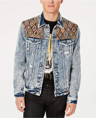 GUESS Men Embroidered Yoke Denim Jacket