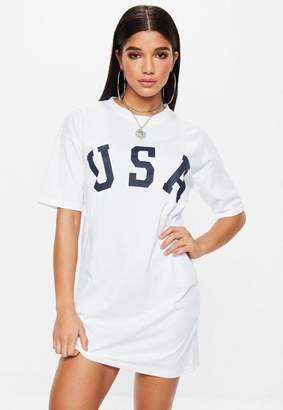 Missguided White Short Sleeve USA T-shirt Dress