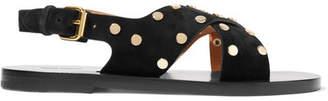 Isabel Marant Jane Studded Suede Sandals - Black