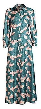 Lafayette 148 New York Women's Siya Floral Silk Maxi Shirtdress