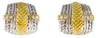 Judith Ripka 18K Diamond Earclips