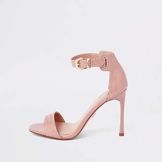 River Island Light pink croc barely there sandals