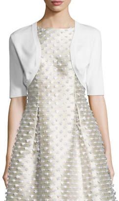 Lela Rose Half-Sleeve Cropped Shrug, White