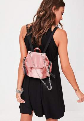 Missguided Pink Satin Mini Backpack, Pink