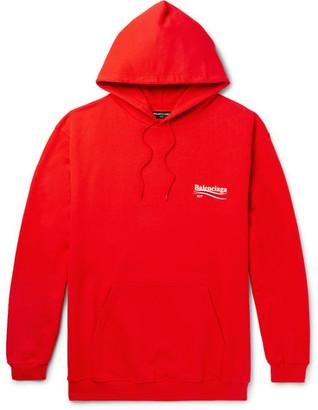 Balenciaga Loopback Cotton-Jersey Hoodie $650 thestylecure.com