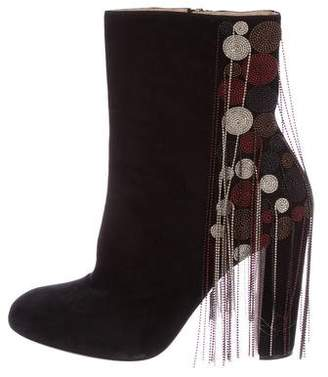 Chloé Suede Beaded Ankle Boots