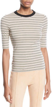 Rosetta Getty Crewneck Short-Sleeve Striped Cotton-Jersey Cropped T-Shirt