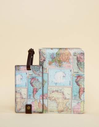 Cotton On World Map Passport Holder & Luggage Tag Set