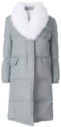 Thom Browne Flannel Down Filled Chesterfield Dress With Fox Fur Trim
