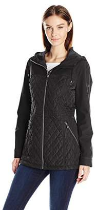 Calvin Klein Women's Rain Anorak Jacket with Soft Shell Combo Quilt