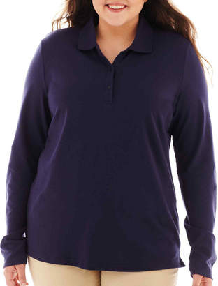 Arizona Long-Sleeve Uniform Polo Shirt - Juniors Plus